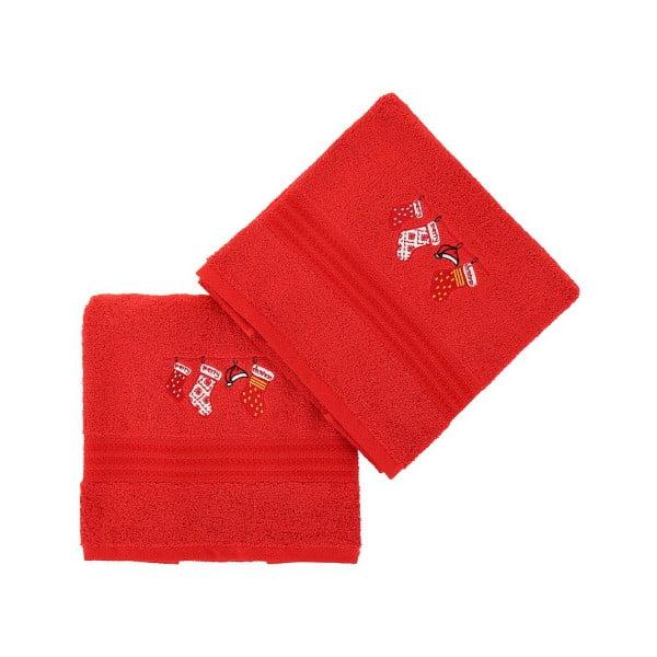 Sada 2 červených vianočných uterákov Stockings, 70x140 cm