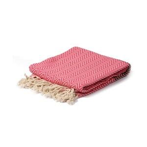 Vínovo-růžový hammam ručník Spa Time Zig, 95x180cm