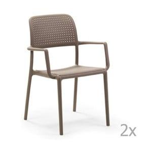 Sada 2 béžovošedých zahradních židlí Nardi Bora