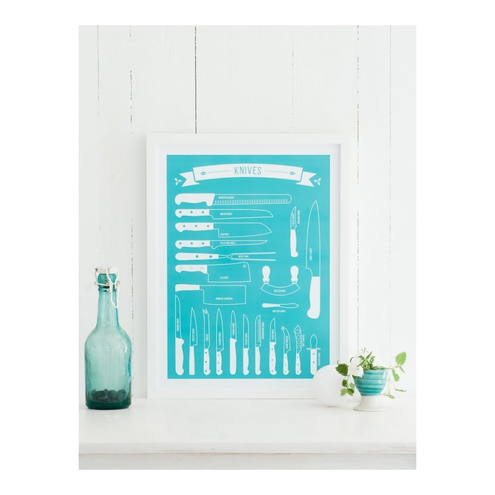 poster follygraph knives turquoise 40 x 50 cm bonami. Black Bedroom Furniture Sets. Home Design Ideas