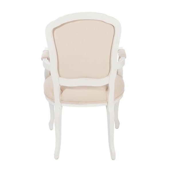 Bílá židle Louis XV s područkami, béžová