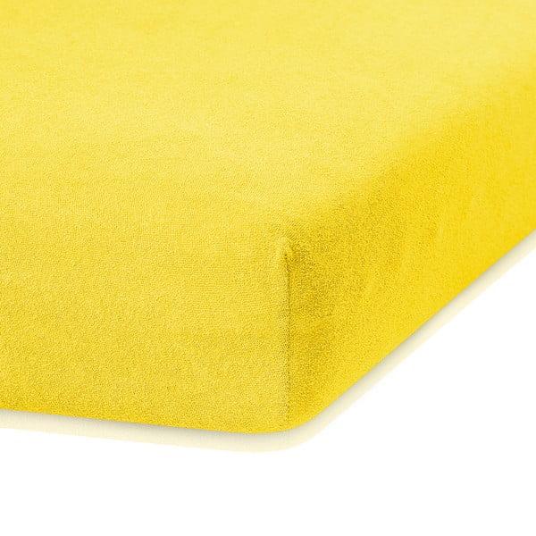 Ciemnożółte prześcieradło elastyczne z dużym dodatkiem bawełny AmeliaHome Ruby, 200x140-160 cm