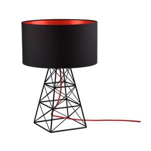 Černá stolní lampa s červeným kabelem Filament Pylon