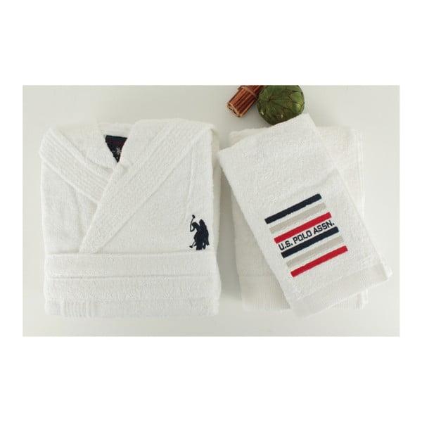 Bílá sada dámského županu a 2 ručníků U.S. Polo Assn. Lutsen, vel. M