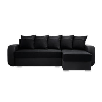 Canapea cu șezlong partea dreaptă Interieur De Famille Paris Destin negru
