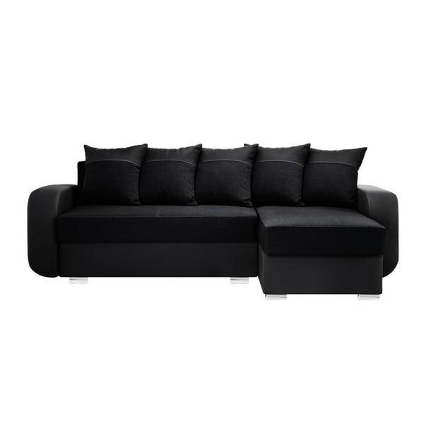 Canapea cu șezlong partea dreaptă Interieur De Famille Paris Destin, negru