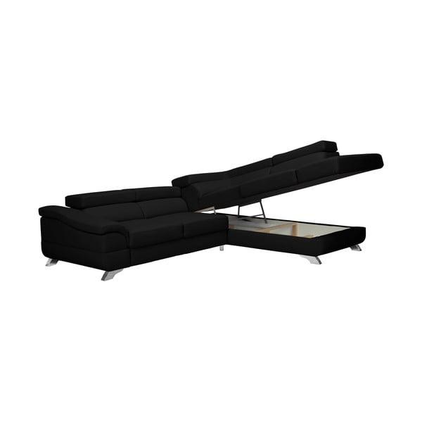 Černá kožená rozkládací rohová pohovka Windsor & Co Sofas Gamma, pravý roh