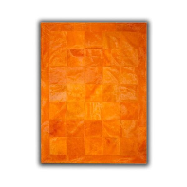 Koberec z pravé kůže Plain Orange, 140x200 cm