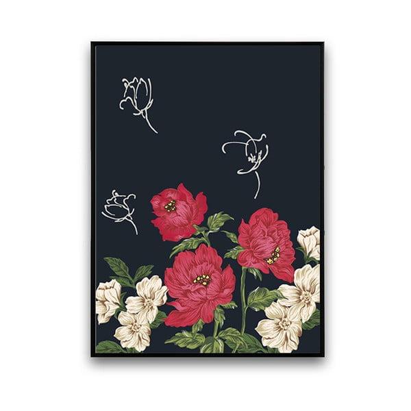 Plakát s červeno-bílými květinami, 30 x 40 cm