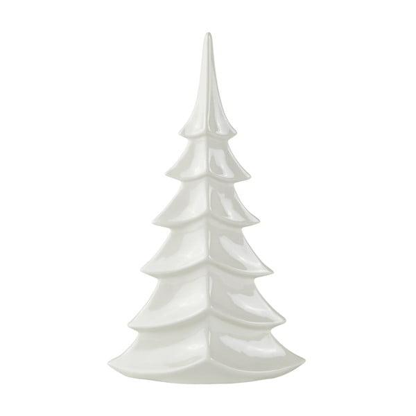 Biely keramický dekoratívny vianočný stromček KJ Collection, výška 35 cm