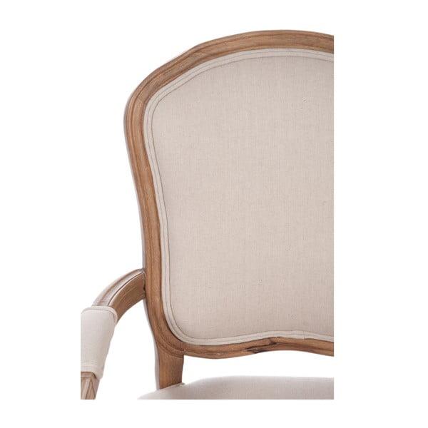 Hnědá židle Louis XV s područkami, béžová