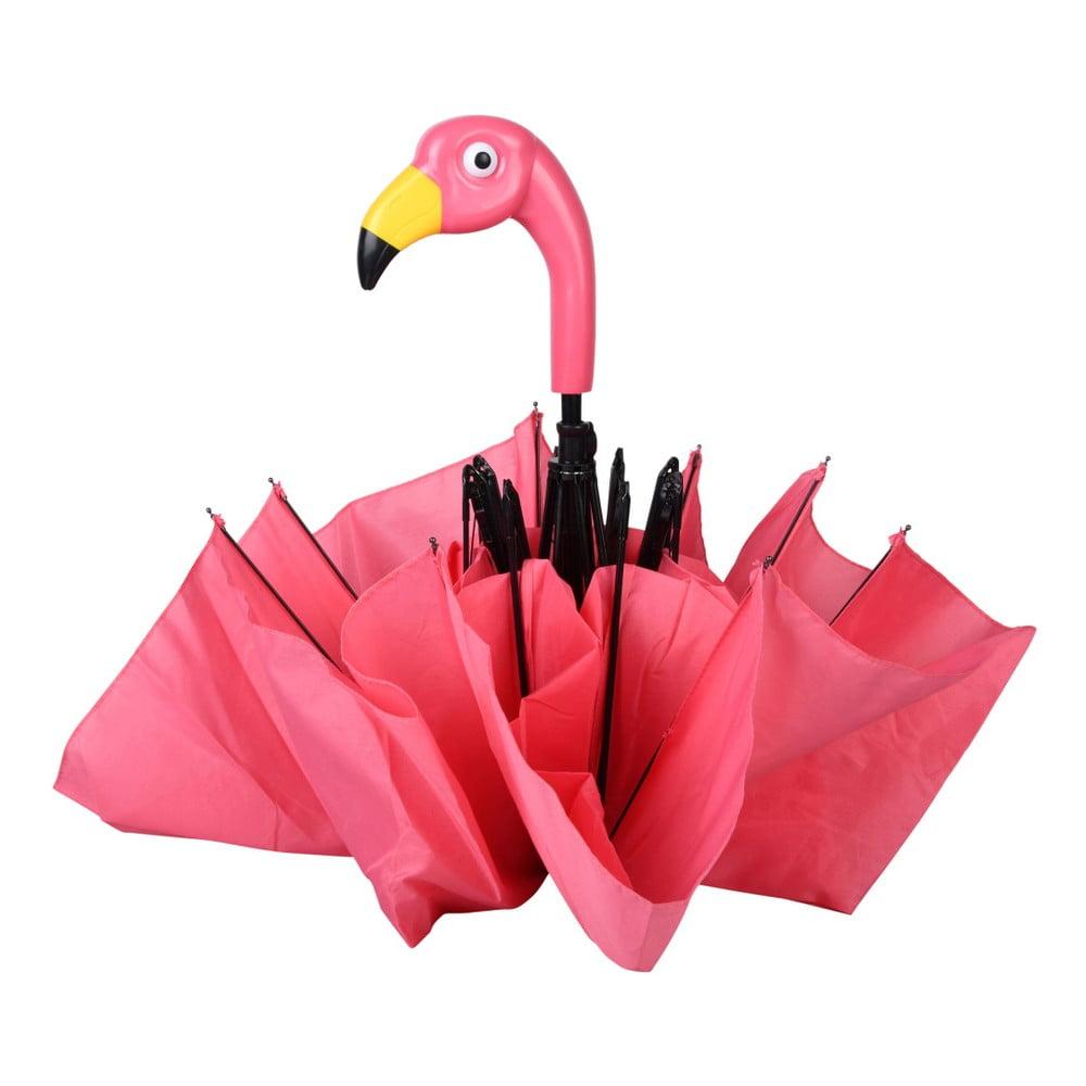 Růžový skládací deštík Esschert Design Flamingo, ⌀ 96,5 cm