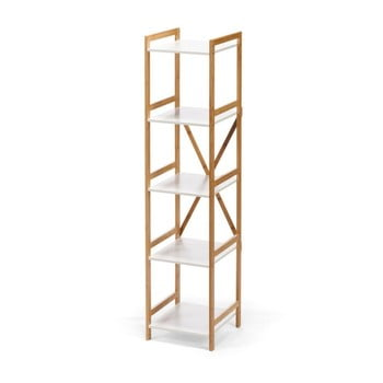 Etajeră îngustă cu 4 nivele, cu structură din bambus loomi.design Lora, alb imagine