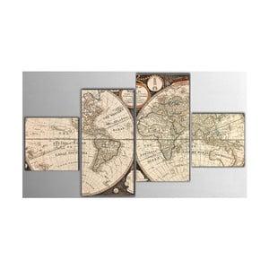 4dílný obraz Map, 50x100 cm