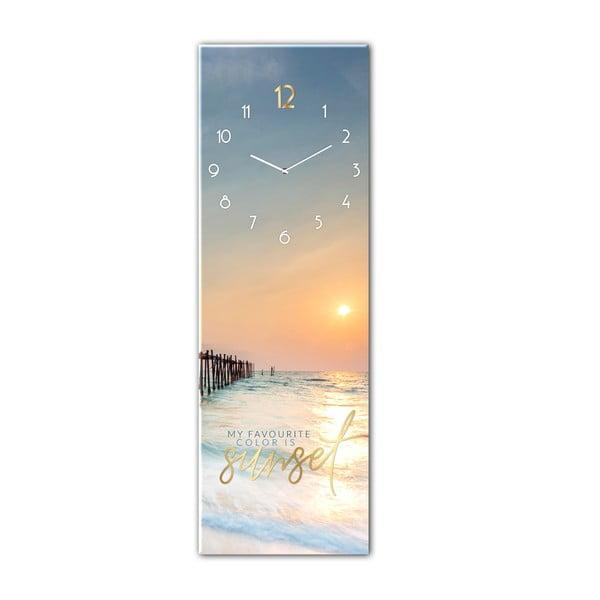 Ceas de perete din sticlă Styler Sunset, 20 x 60 cm