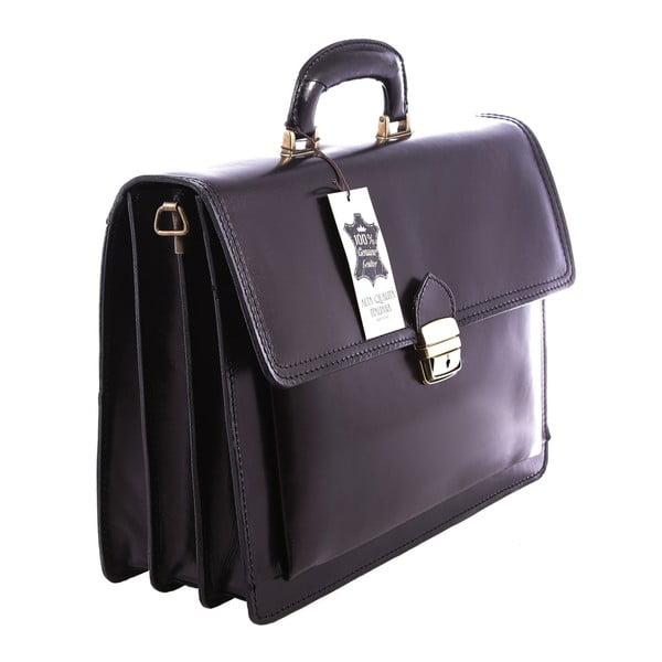 Černá kožená taška Chicca Borse Ciryl
