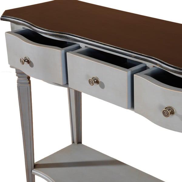 Odkládací konzolový stolek se 3 zásuvkami Transilvania Belgique Grey