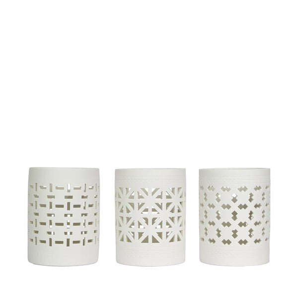 Sada tří porcelánových svícnů s vyřezávanými vzory HF Living Candle