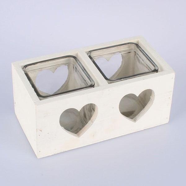 Heart fehér fa gyertyatartó két gyertyával - Dakls