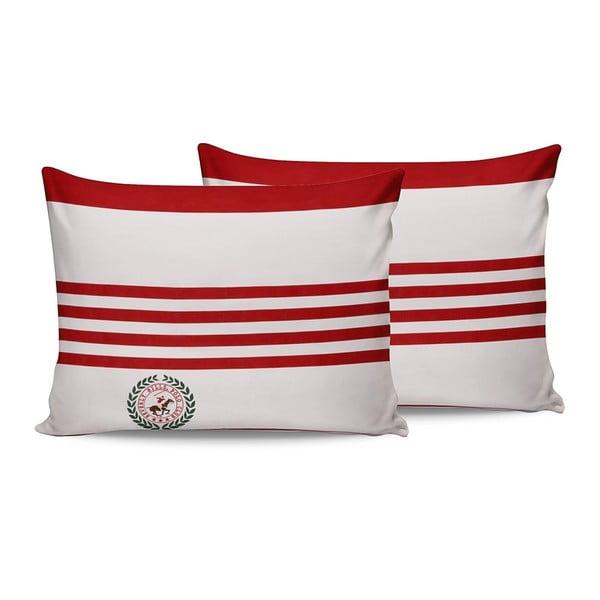 Komplet 2 czerwono-białych bawełnianych poszewek na poduszki Beverly Hills Polo Club Rojo, 50x70 cm
