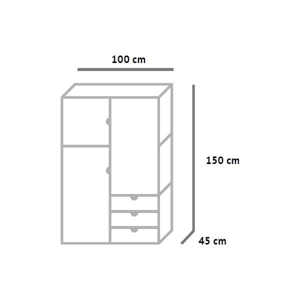 Šatní skříň Fam Fara, výška 150 cm