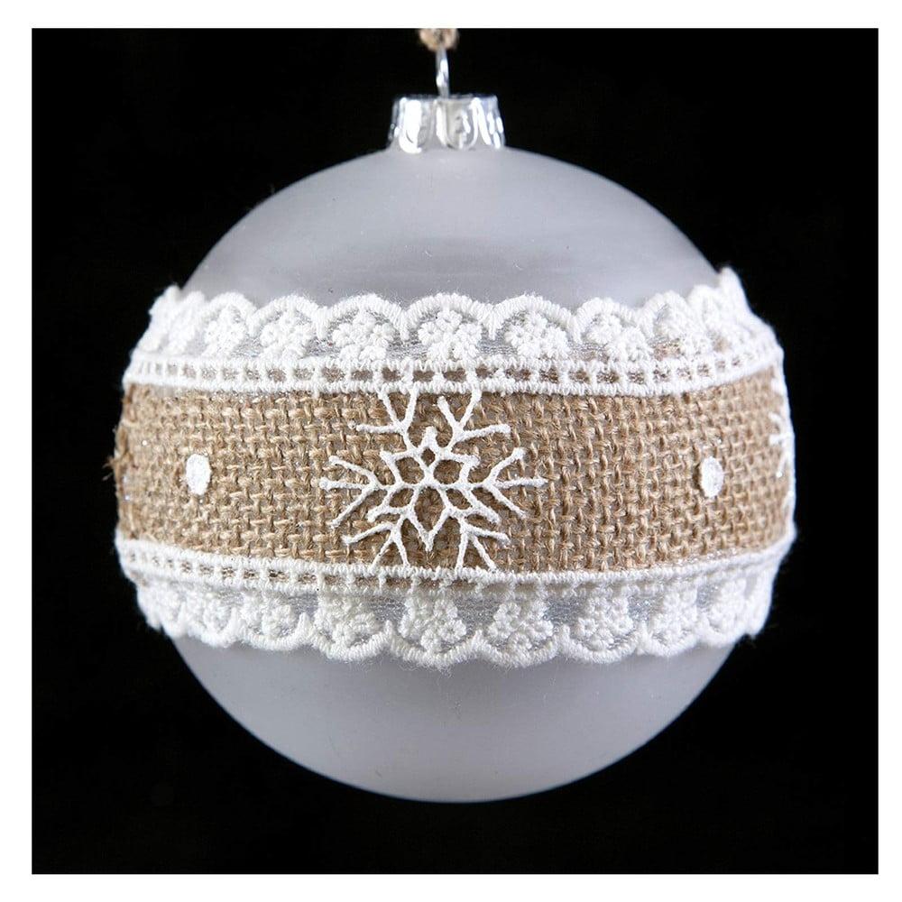Sada 6 skleněných vánočních ozdob DecoKing Burlap