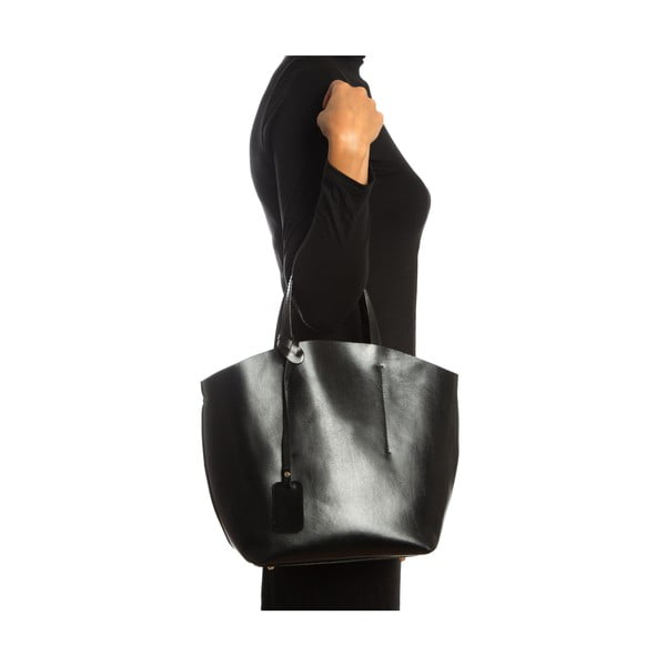 Černá kožená kabelka Sofia Cardoni Nora