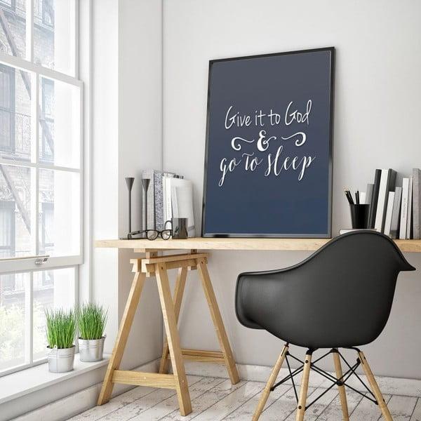 Plakát v dřevěném rámu Give it, 38x28 cm