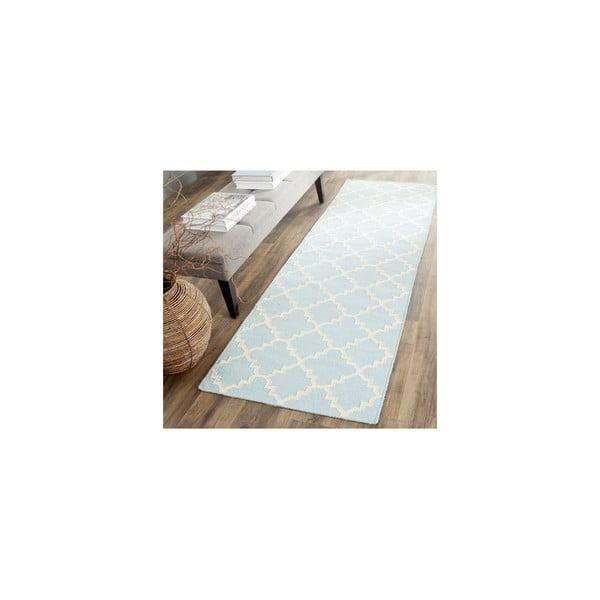 Vlněný koberec Darien 76x182 cm, světle modrý