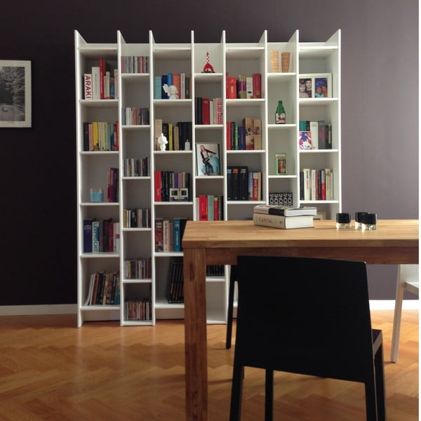 Bibliotecă WOOOD Grenen,moduldebază, alb