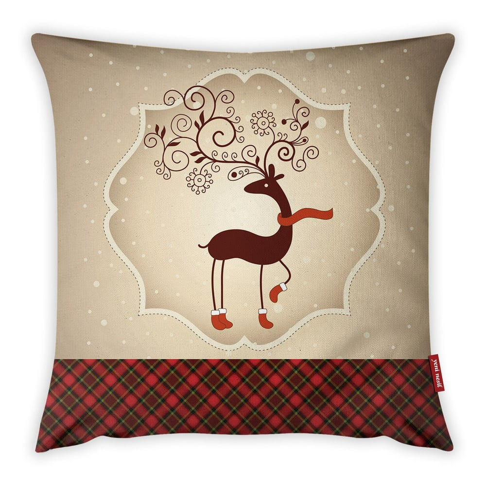 Povlak na polštář Vitaus Christmas Period Deer, 43 x 43 cm