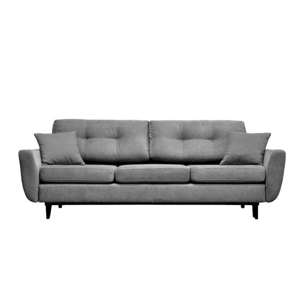 Jasmin szürke 3 személyes kinyitható kanapé fekete lábakkal - Mazzini Sofas