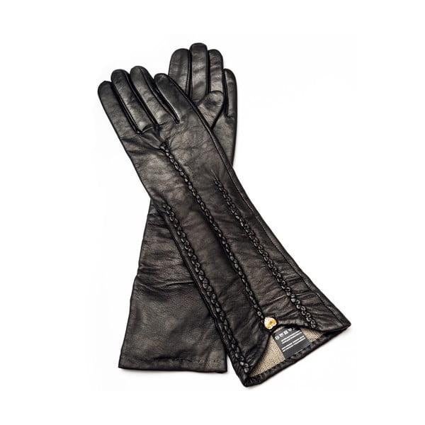 Mănuși din piele pentru femei Pride & Dignity New York, dimensiune 6,5, negru