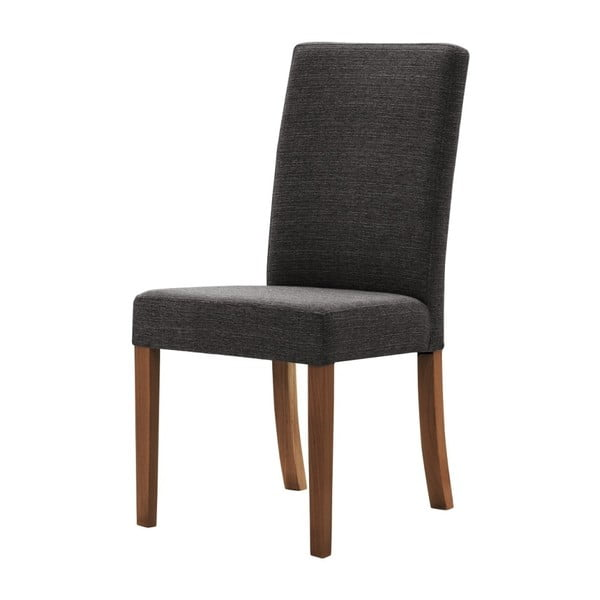 Antracitově šedá židle s tmavě hnědými nohami z bukového dřeva Ted Lapidus Maison Tonka