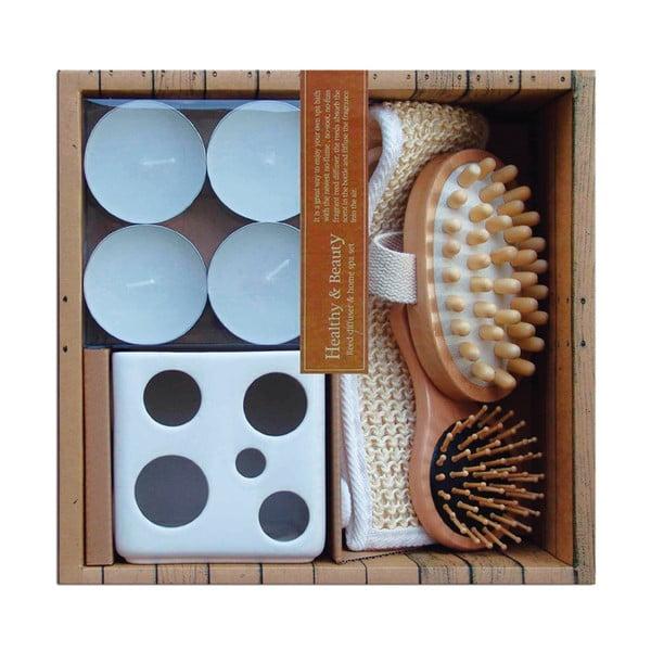 Relaxační sada svícnu, svíček a kartáčů do koupele Ceramic