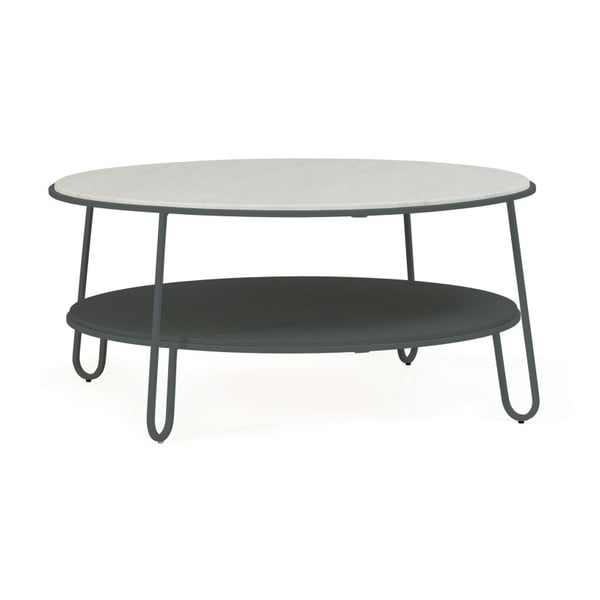 Šedý konferenční stolek s mramorovou deskou HARTÔ Eugénie, ⌀ 90cm
