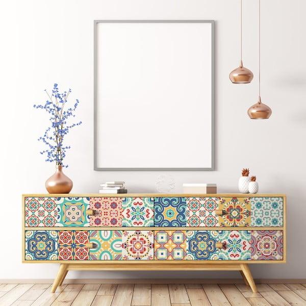 Set 24 autocolante pentru mobilă Ambiance Georgina, 10 x 10 cm