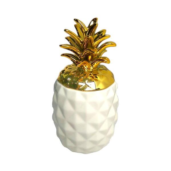 Bílo-zlatá dekorace Maiko Pineapple, střední