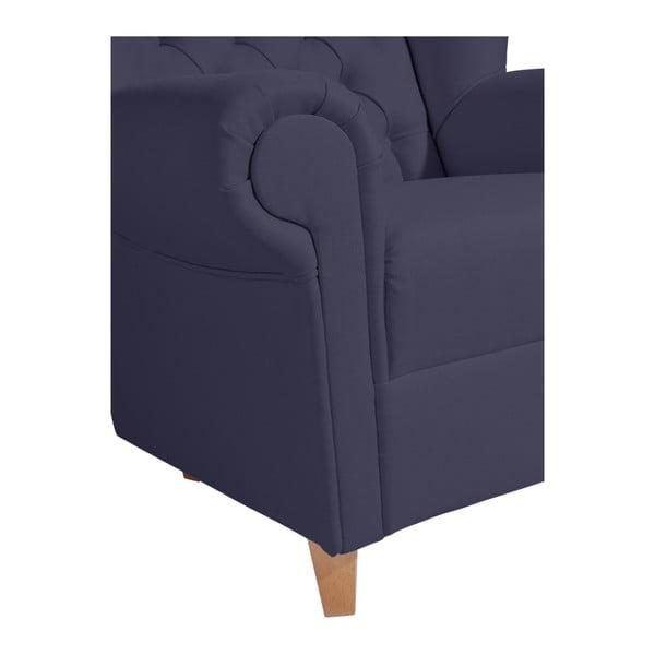 Tmavě modré křeslo ušák Max Winzer Vary Leather Dark Blue