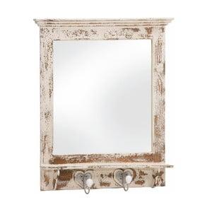 Zrcadlo s háčky Antique, bílá patina