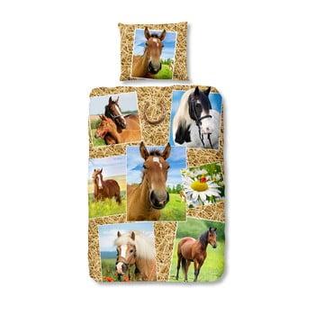 Lenjerie de pat din bumbac pentru copii Müller Textiels Horses140x200cm