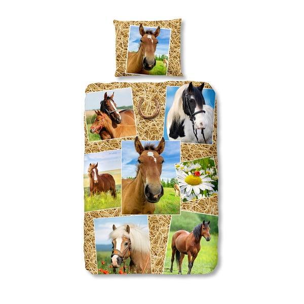 Lenjerie de pat din bumbac pentru copii Müller Textiels Horses,140x200cm