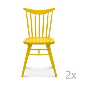 Sada 2 žlutých dřevěných židlí Fameg Anton