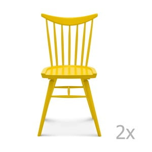Set 2 scaune din lemn Fameg Age, galben