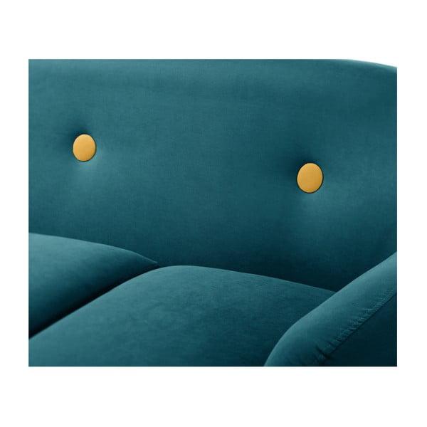 Tyrkysově modrá rohová trojmístná pohovka Scandi by Stella Cadente Maison, levý roh