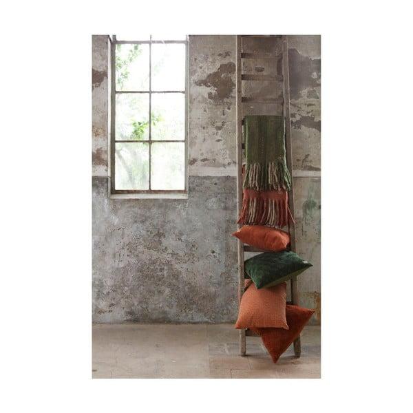 Sametový zelený bavlněný polštář BePureHome Cherish, 50x50cm