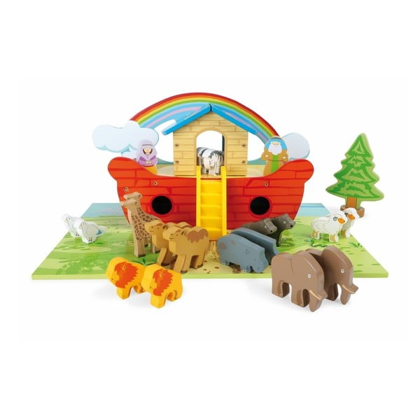 Barcă și figurine din lemn Legler Noah's Ark