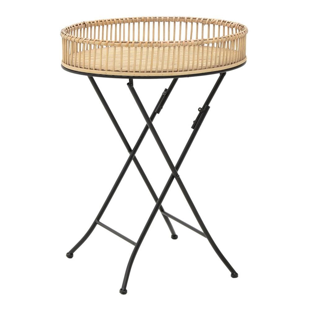Dřevěný příruční stolek s kovovými nohami InArt, ⌀ 54,5 x 69,5 cm
