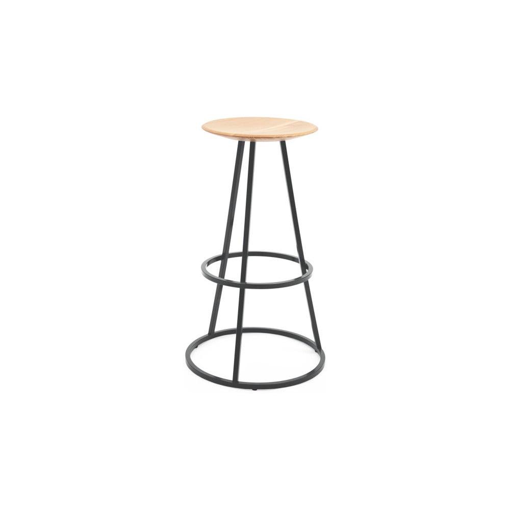 Barová stolička s dubovou deskou a šedou kovovou konstrukcí HARTÔ Gustave, výška 77 cm