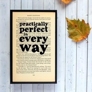 Plakát v dřevěném rámu Mary Poppins Practically Perfect